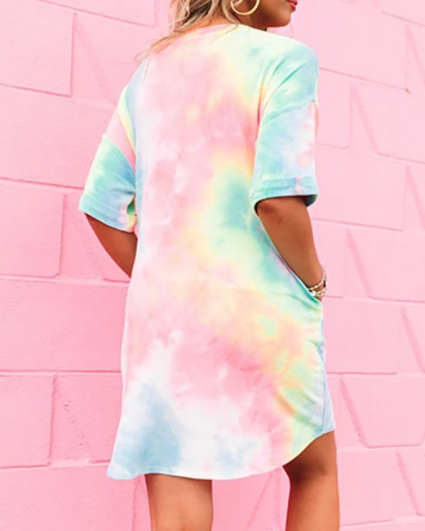 Tie Dye Print Pockets Casual Dress