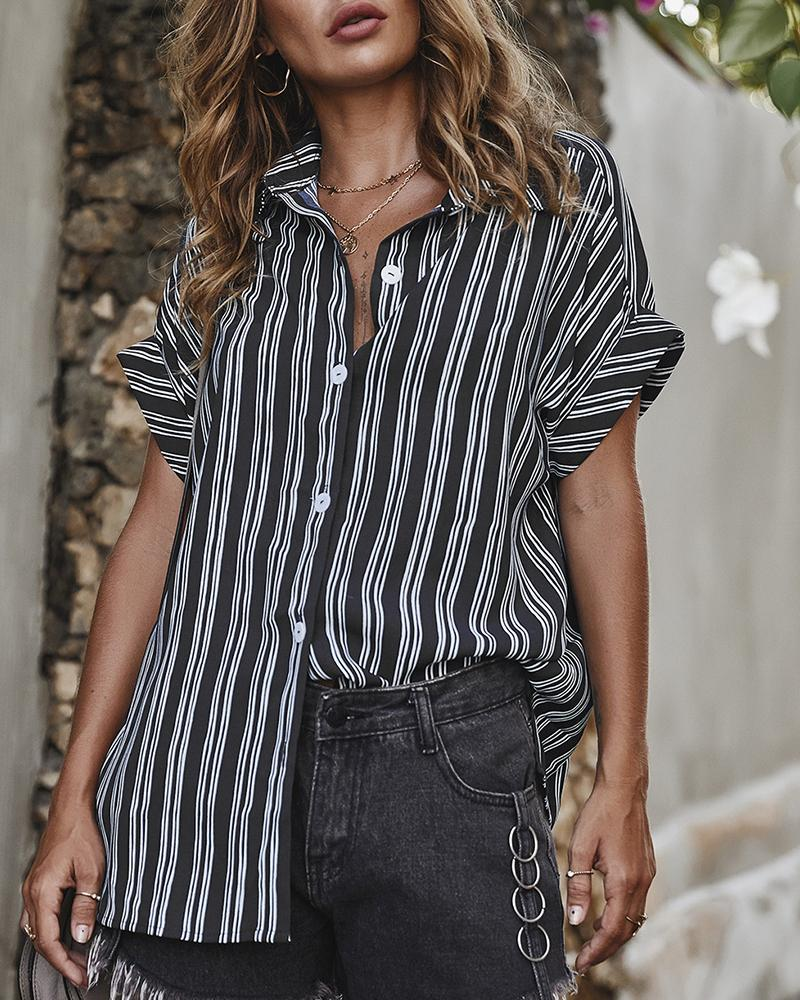 Striped Short Sleeve Casual Shirt