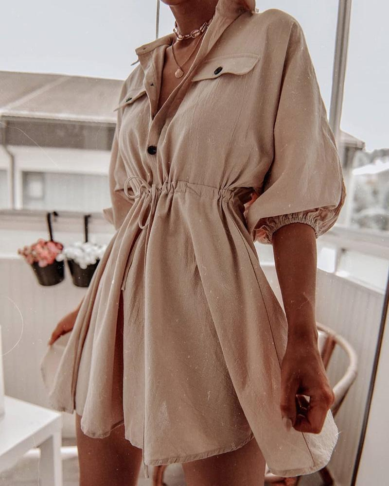 Lantern Sleeve Solid Drawstring Shirt Dress