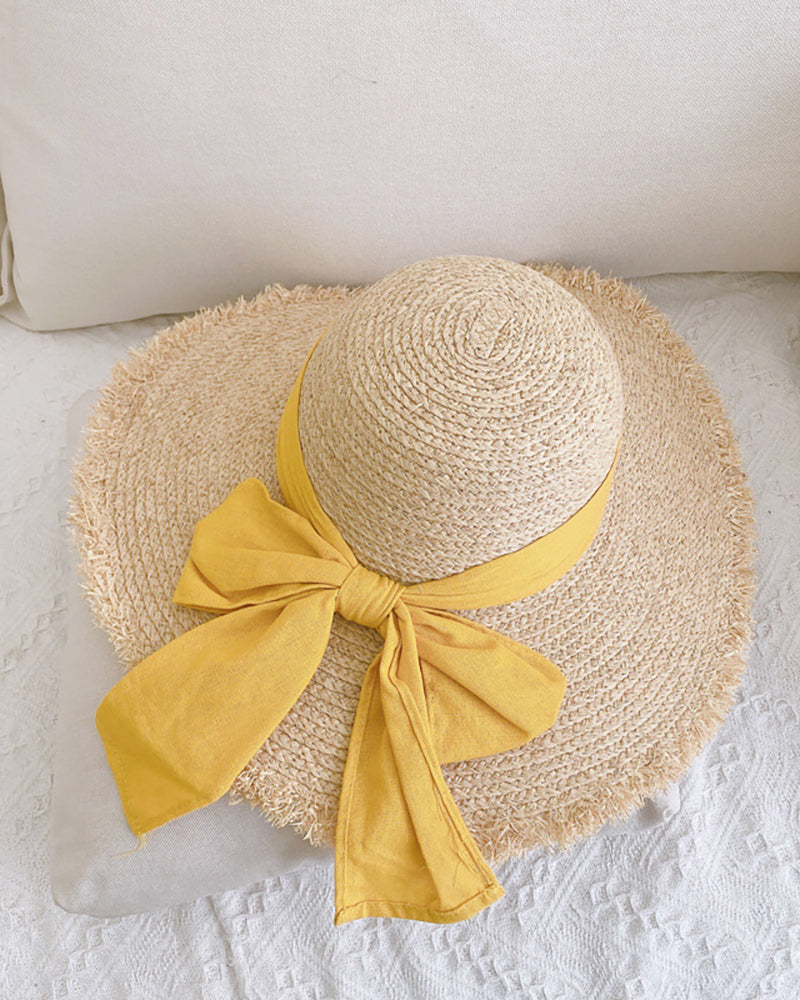 Bowknot Decor Tassel Wide Brim Straw Hat