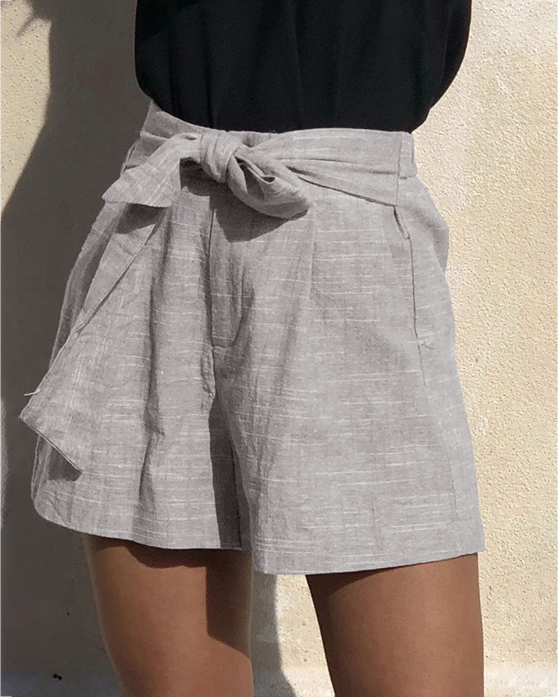 Solid Kotted Pockets Casual Shorts
