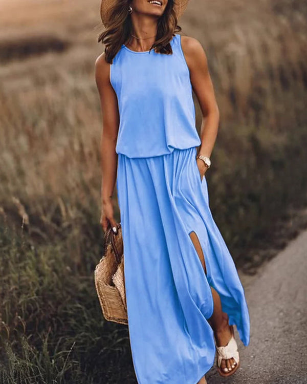 Solid Sleeveless Slit Dress
