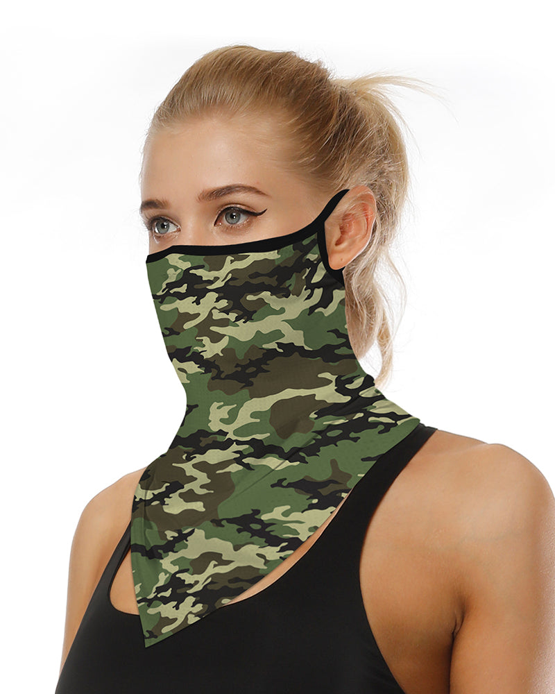 Camouflage Print Breathable Ear Loop Face Cover Windproof Motorcycling Dust Outdoors