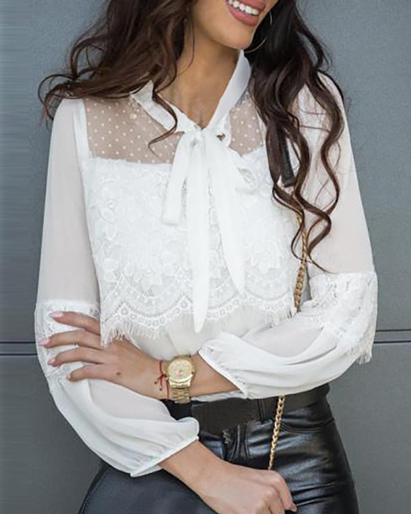 Eyelash Lace Mesh Dot Tied Blouse