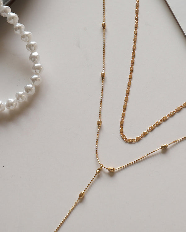 Pearl Lock Pattern Layered Chain Necklace