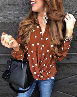 Polka Dot Button-Up Top