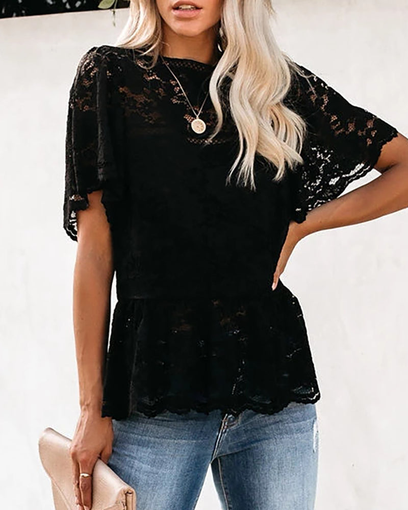 Crochet Lace Short Sleeve T-Shirt