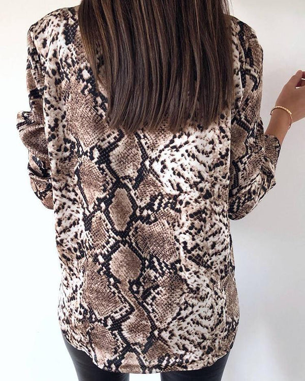 Snake Print Stand Neck Casual Shirt