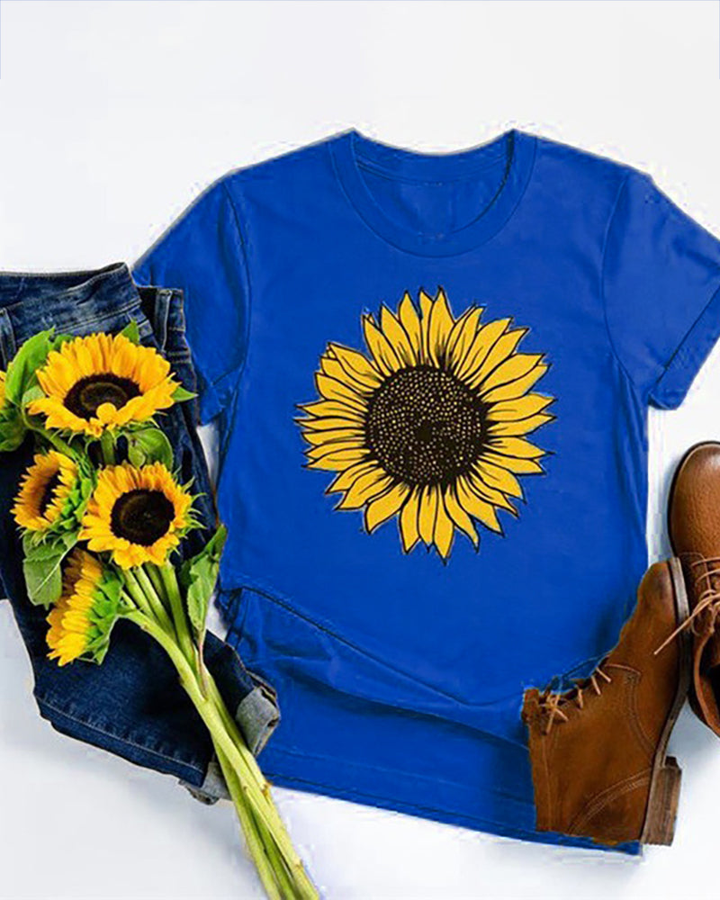 Sunflower Print Short Sleeve T-shirt
