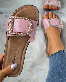 Studded D-Buckle Design Flat Sandals