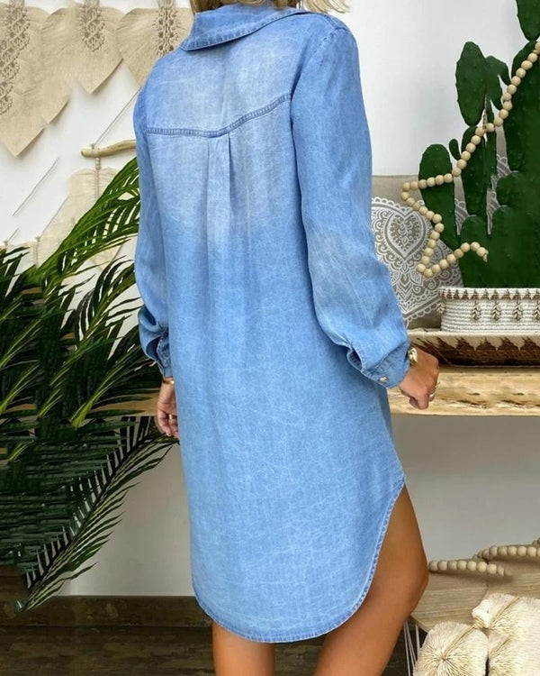Buttoned Pockets Design Denim Shirt Dress