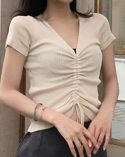 V-neck Short Sleeve Ribbed Drawstring T-shirt