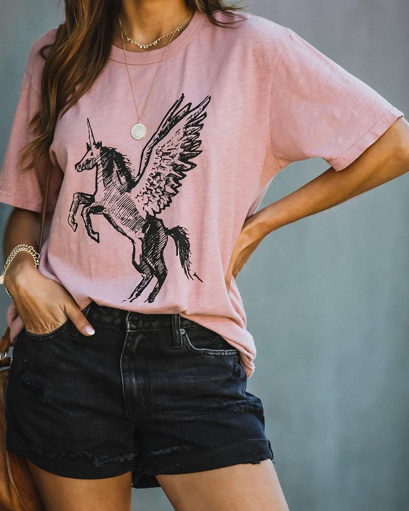 Unicorn Print Short Sleeve Casual T-shirt