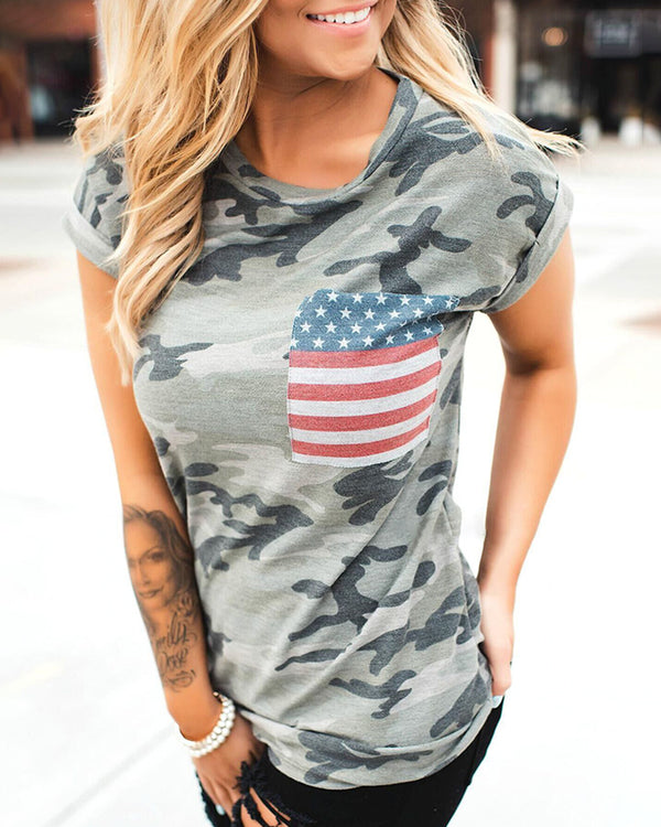 Flag Camouflage Print Round Neck T-shirt