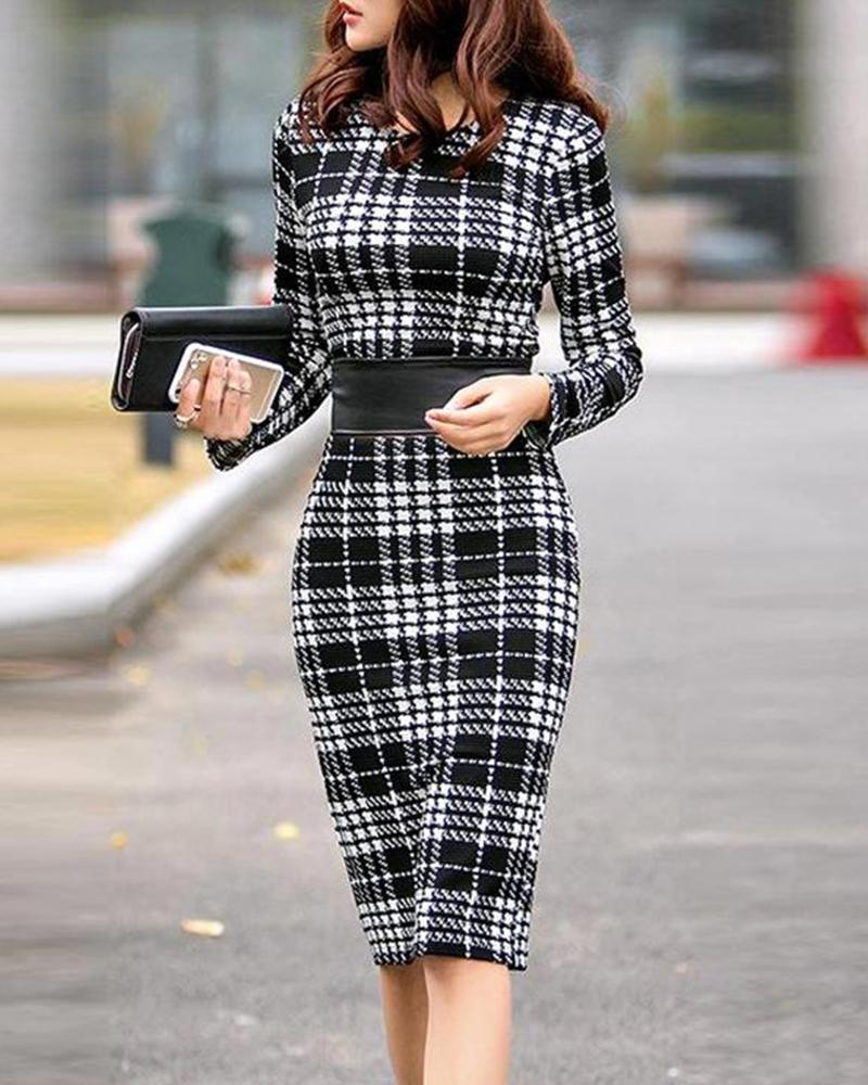 Plaid Bodycon Midi Work Dress
