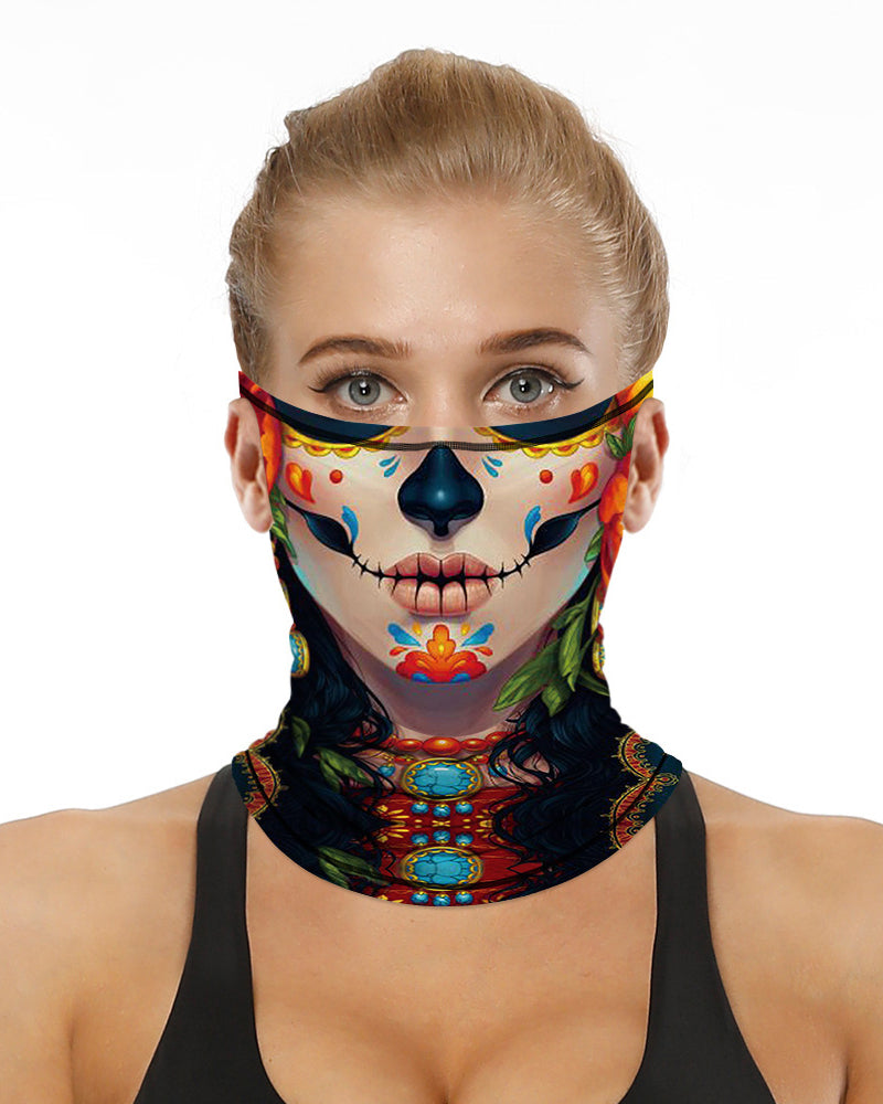 Face Print Breathable Ear Loop Face Bandana Headwrap