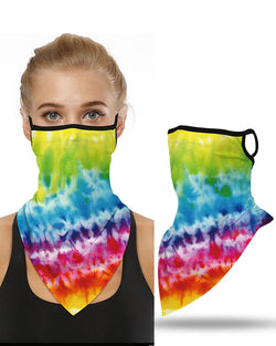 Tie Dye Print Breathable Ear Loop Face Cover Bandana Windproof Motorcycling Dust Outdoors