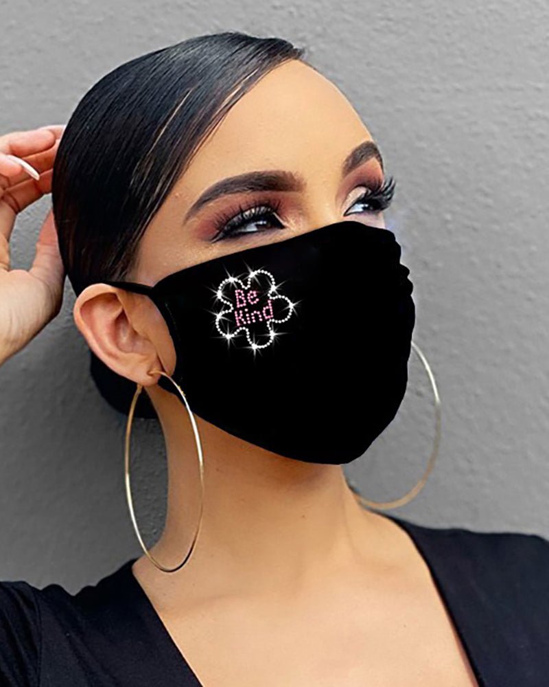 Ribbon / Heart / Floral / Letter Cross Pattern Bling Rhinestone Face Mask