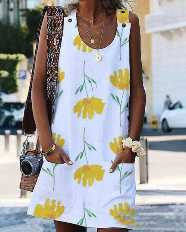 Floral Print Bottoned Pockets Dress