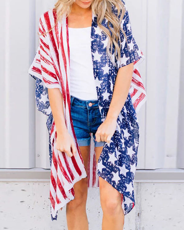 Flag Print Half Sleeve Casual Cardigan