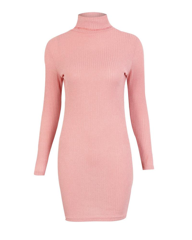 Long Sleeve High Neck Sweater Dress