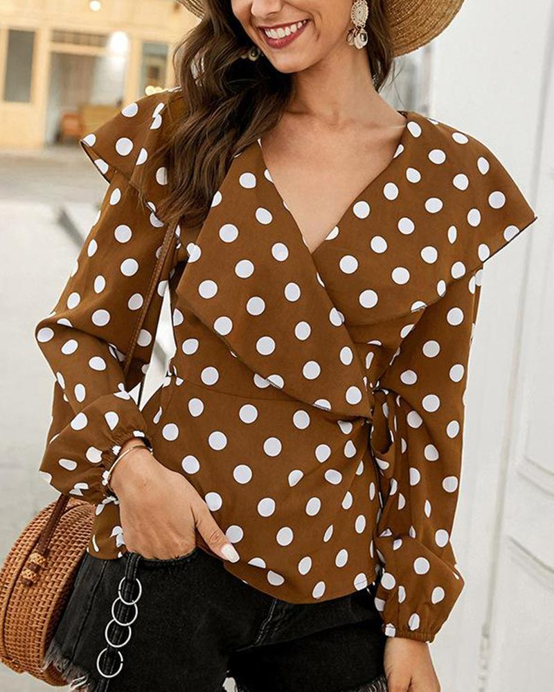 Polka Dot V Neck Top