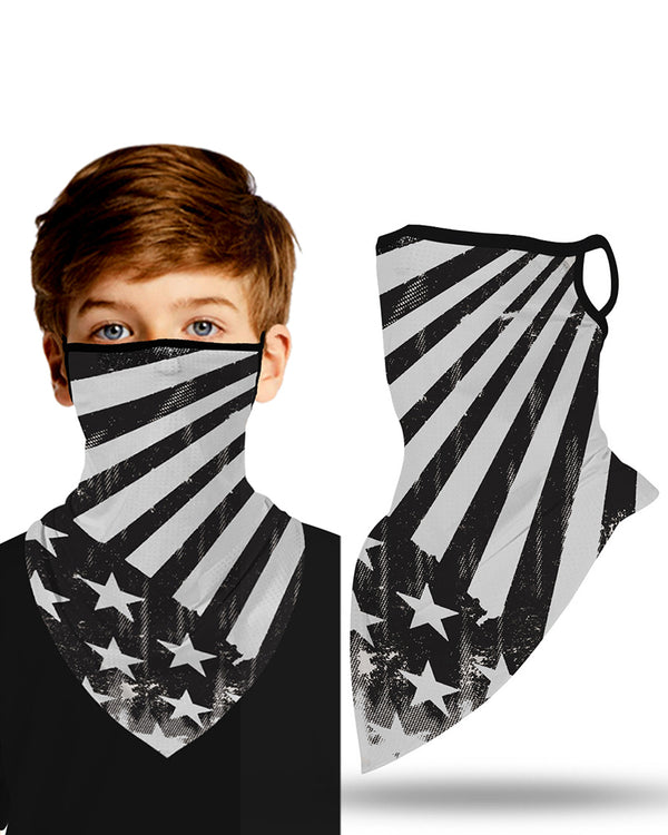 Flag Print Breathable Ear Loop Face Cover Windproof Outdoors For Children