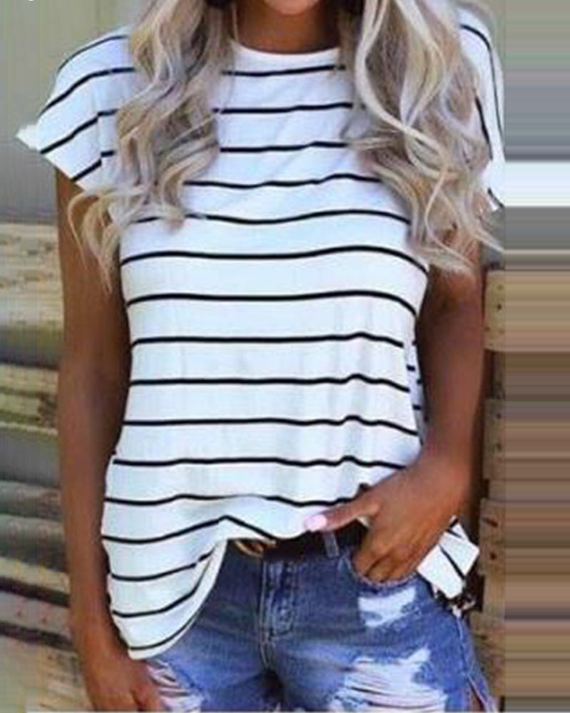 Print Striped Backless Casual T-shirt
