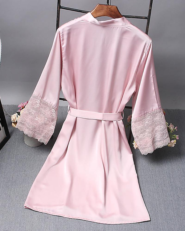 Solid Open Front Long Sleeve Robe