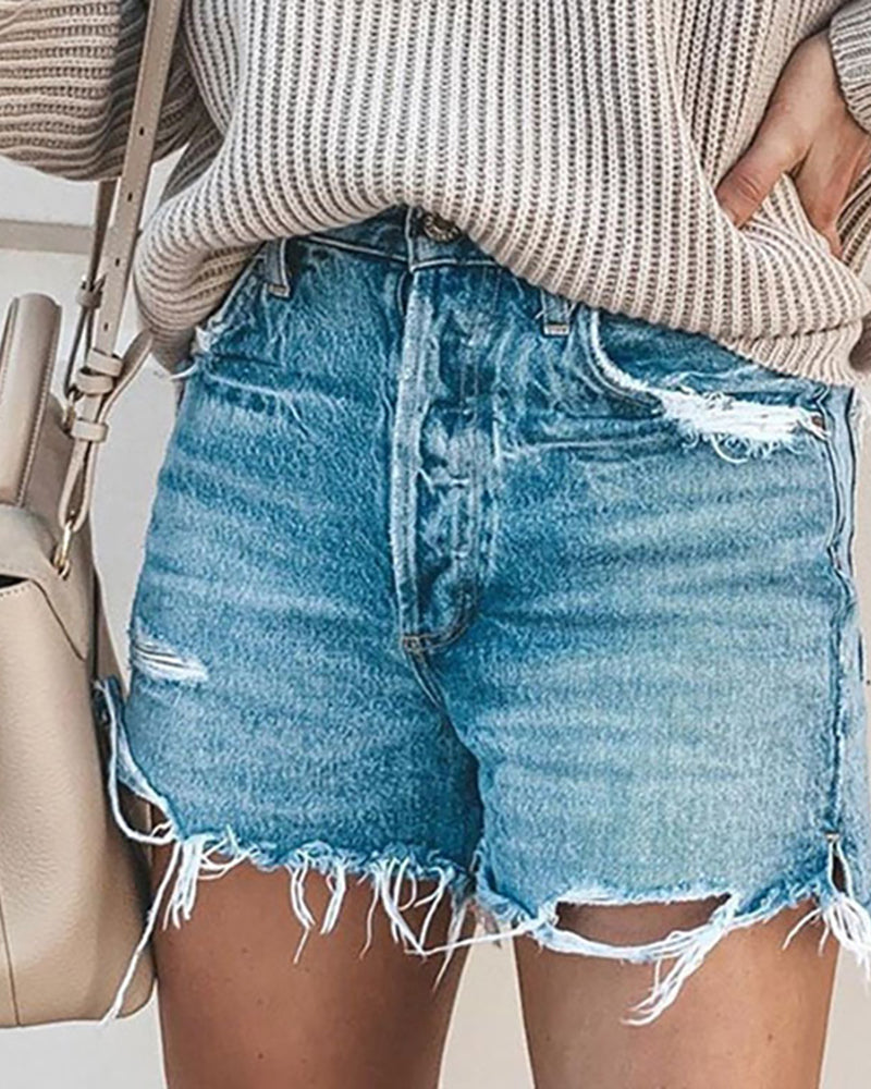 Distressed Fringe Hem Pockets Casual Denim Shorts