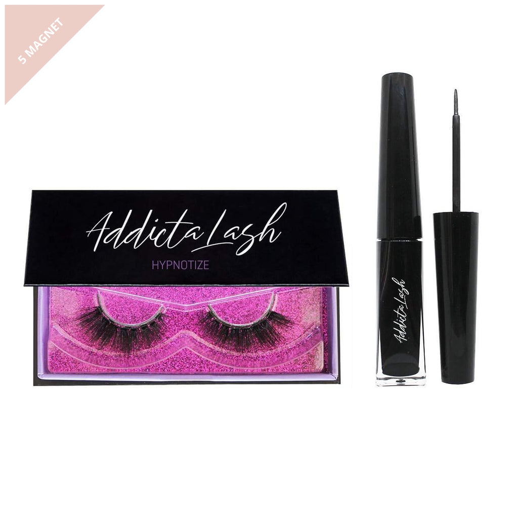 Pair of dramatic magnetic eyelashes in a black box with a black magnetic eyeliner made by Addictalash