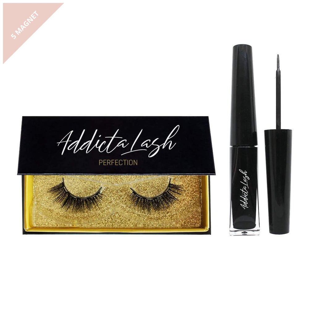 Pair of soft glamorous style magnetic eyelashes in a black box with a black magnetic eyeliner made by Addictalash