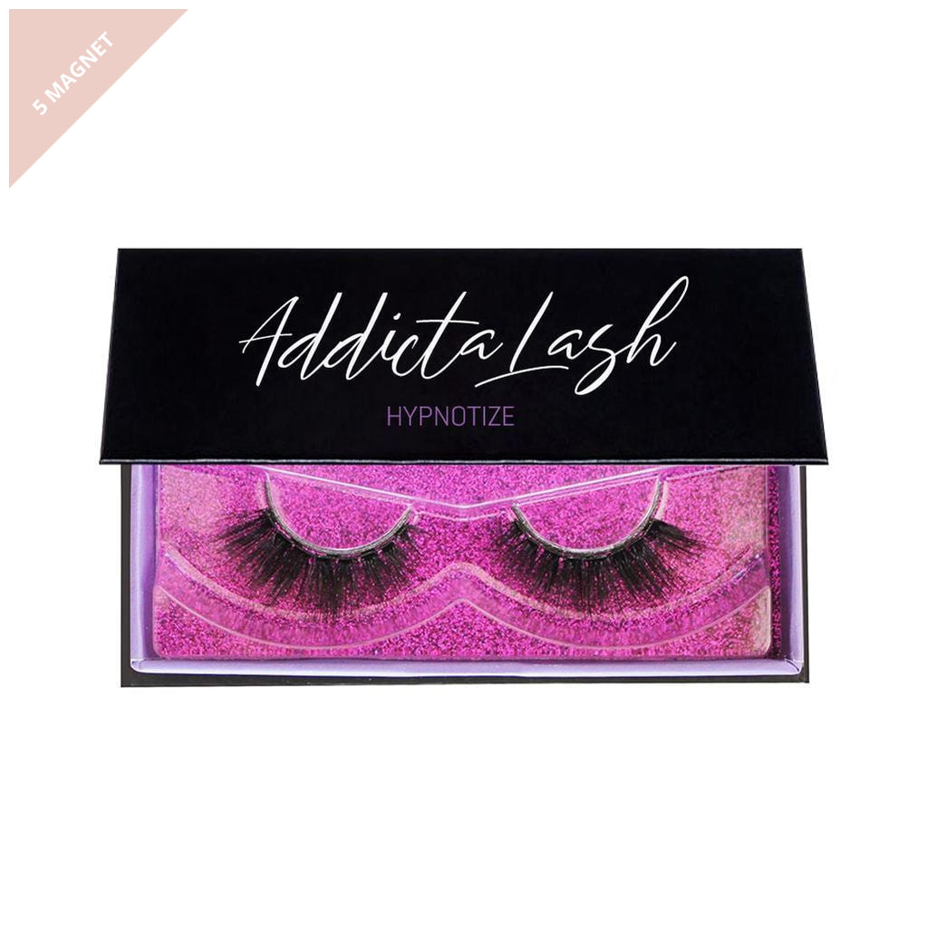 Pair of dramatic magnetic eyelashes in a black box made by Addictalash