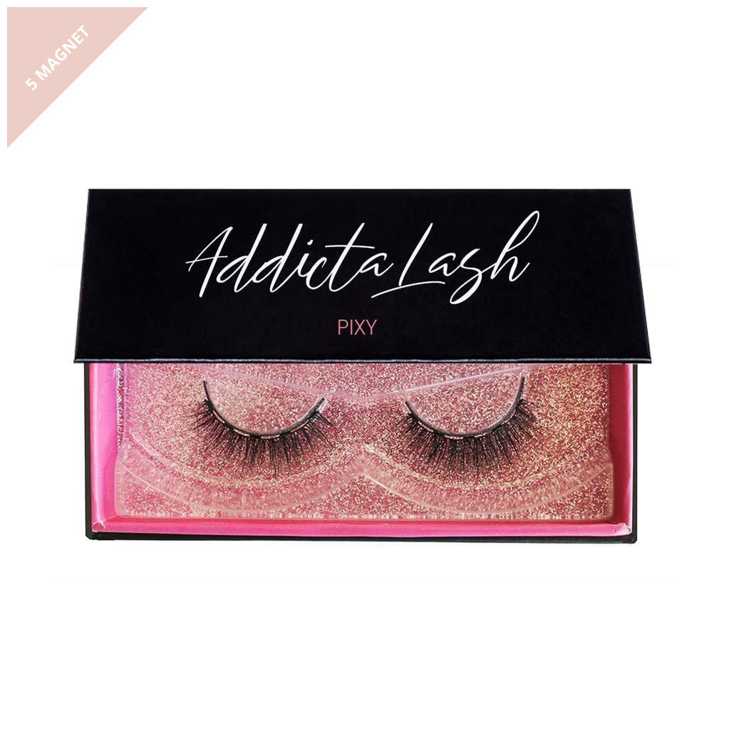 Pair of natural magnetic lashes in a beautiful pink and black box made by Addictalash