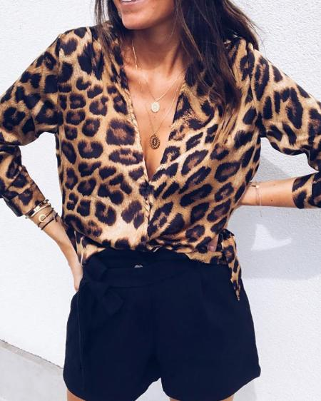 Leopard Deep V Long Sleeve