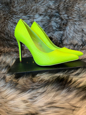 Neon Yellow Pointed Toe Pumps