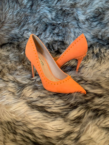 Orange Spike Pumps