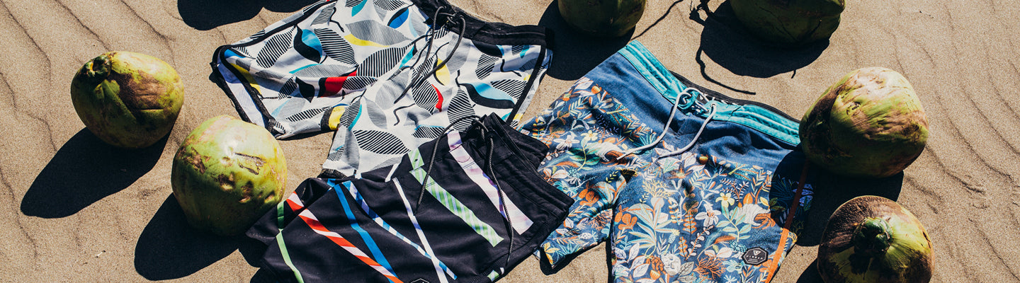Upcycled coconut boardshorts by Vissla