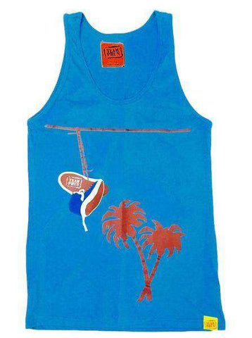Team Phun Palm trees and powerlines vest top blue