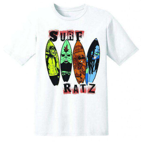 Surf Ratz Line-Up Kid's T-Shirt – White - www.remixd.co.uk
