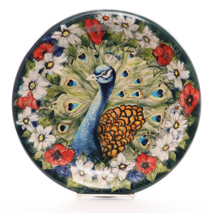 "11.5"" Masterpiece Plate. Pattern: Peacock Flowers"