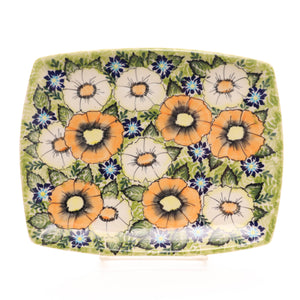 "9""x7"" Rectangular Plate. Pattern: Orange Delight"