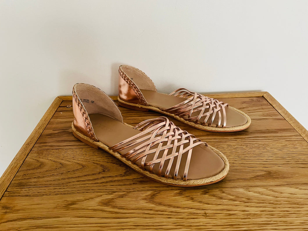 Next Rose Gold Leather Strappy Flat Sandals UK6.5 EU40