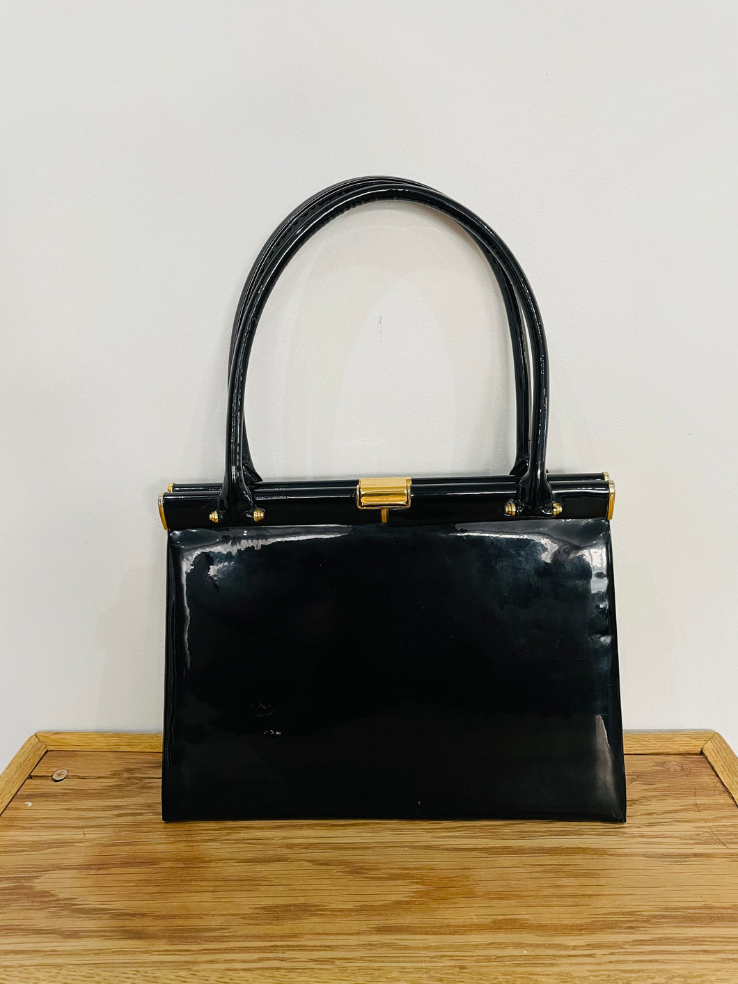 B Lewis of Piccadilly Vintage Black Patent Bag