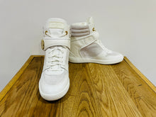 Load image into Gallery viewer, LOUIS VUITTON LV Postmark White Epi Leather & Suede Wedge Sneakers Shoes Size 5.5UK 38.5EU