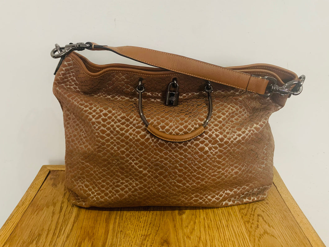 Mulberry Large Hetty Hobo in Oak Metallic Snake Suede