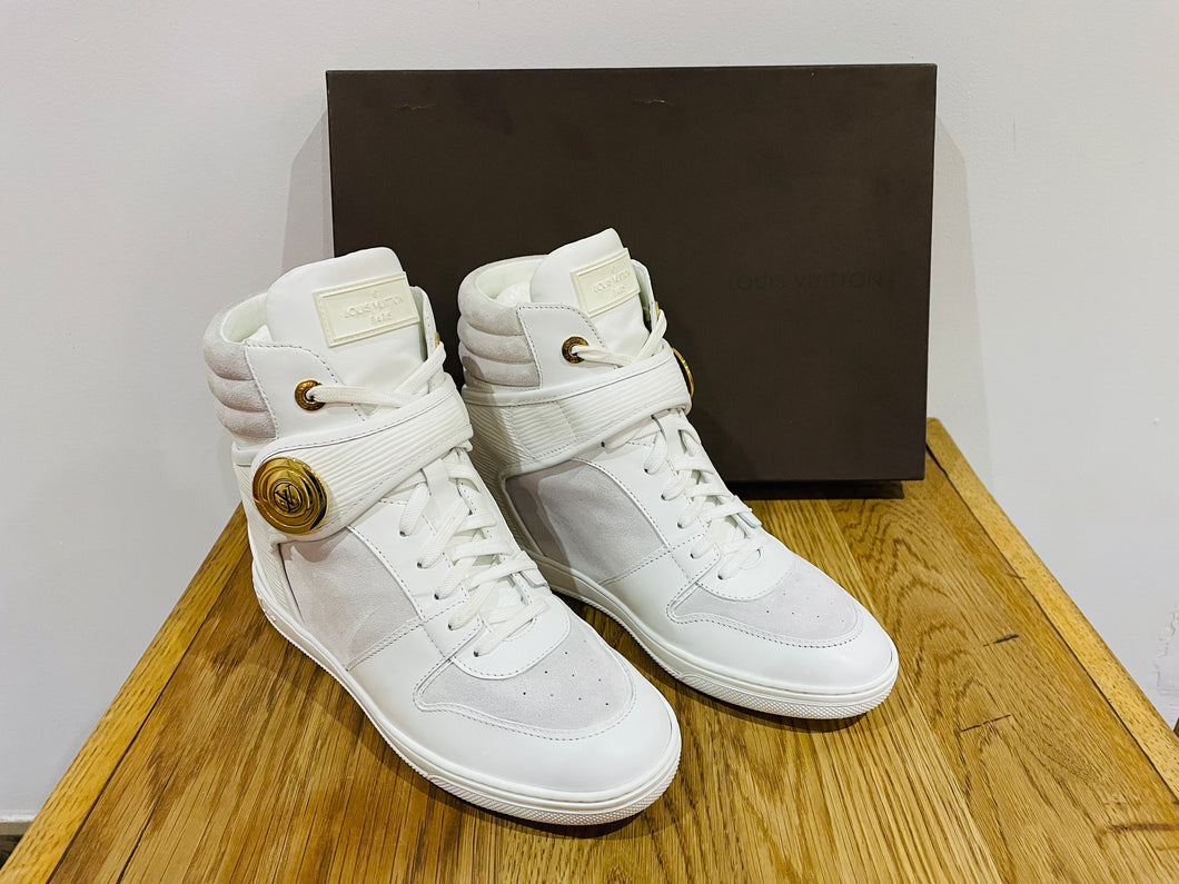 LOUIS VUITTON LV Postmark White Epi Leather & Suede Wedge Sneakers Shoes Size 5.5UK 38.5EU