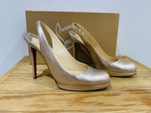 Load image into Gallery viewer, Christian Louboutin Gold Round Toe Slingbacks UK6 EU39