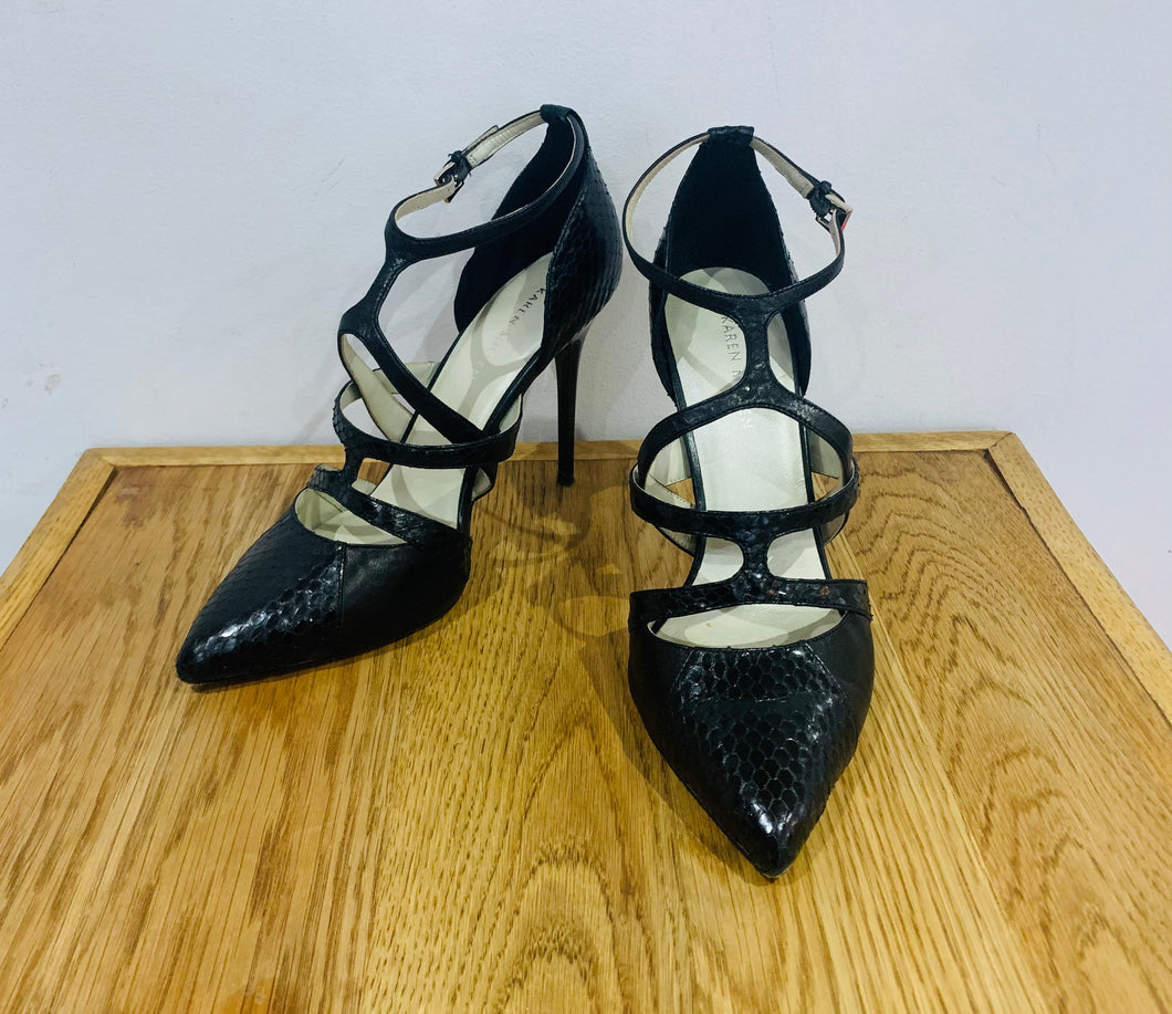 Karen Millen Black Snake Effect Pointed Strappy Heels UK6