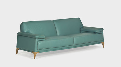 Contemporary aqua leather sofa with exposed timber legs.